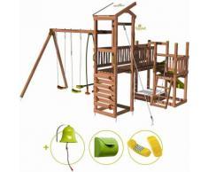 Aire de jeux pour enfant 3 tours avec pont et portique - CRAZY Bridge et son kit d'accessoire MAISON