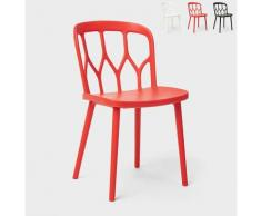 Chaises en polypropylène au design moderne pour bar, cuisine et jardin Flow | Rouge