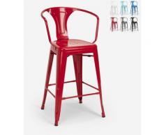 Tabouret avec dossier en métal design industriel pour bar et cuisine style Tolix Steel Back | Rouge