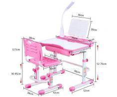 Bureau pour enfant réglable en hauteur - Avec lampe - Inclinaison réglable - Avec chaise - Avec