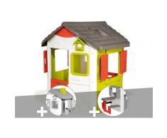 Cabane enfant Neo Jura Lodge + Cheminée + Table pique-nique - Smoby