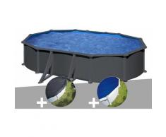 Kit piscine acier gris anthracite Gré Juni ovale 6,34 x 3,99 x 1,32 m + Bâche d'hivernage + Bâche à