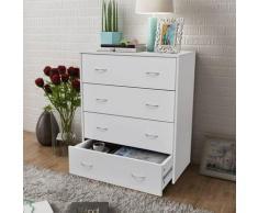 Youthup - Buffet avec 4 tiroirs 60 x 30,5 x 71 cm Blanc
