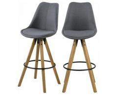 Selsey DJUM - Lot de 2 tabourets de bar - gris foncé - en tissu - pieds en bois - style moderne