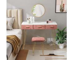 Coiffeuse avec miroir rose