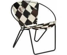 Chaise Losange Noir Cuir véritable HDV12300 - Hommoo