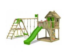 Aire de jeux Portique bois DonkeyDome avec balançoire SurfSwing et toboggan vert pomme Maison