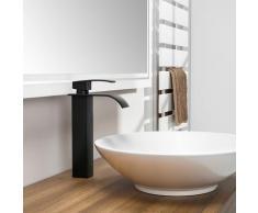 Auralum - Mitigeur Robinet Salle de Bain Noir Bec Haut Robinet de Lavabo Cascade Mitigeur Vasque à