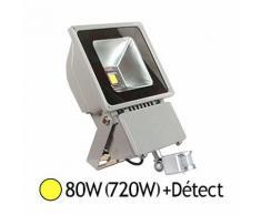 Projecteur Led 80W (720W) Ext IP65 Blanc chaud 3000°K avec détecteur