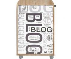Caisson à rideau 2 tiroirs chêne naturel imprimé blog Orga
