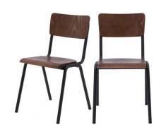 Chaise écolier vintage Clem en bois foncé (lot de 2) - Bois