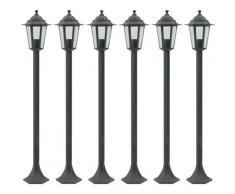 Lampe de jardin à piquet 6 pcs E27 110 cm Aluminium Vert foncé