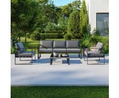 5 Places salon de jardin design aluminium couleur Gris - FIGARI