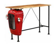 Table de Bar Bois de Manguier Massif Rouge Tracteur 60x150x107 cm