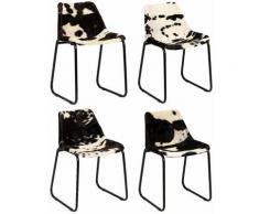 Chaise de salle à manger 4 pcs Cuir véritable de chõ¹vre HDV18209 - Hommoo