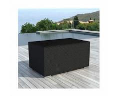 Coffre de rangement en résine tressée 132x63x81 cm noir - LIVOURNE