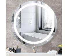 Jeobest - Miroir de Salle de Bain Rond Bord Biseauté Blanc Froid Anti-buée 60 * 60 * 4.5cm - Blanc