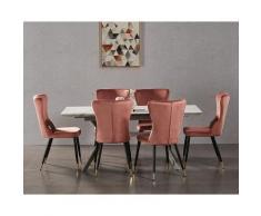 Ensemble Table à Manger Extensible Effet Marbre + 4 Chaises en Velours Rose - Style Scandinave