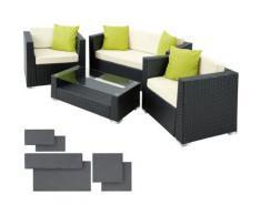 Tectake - Salon bas de jardin MUNICH 4 places avec 2 sets de housses - mobilier de jardin, meuble