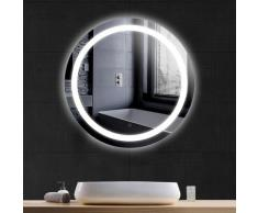Miroir de Salle de Bain Rond Bord Biseauté Blanc Froid Anti-buée 60 * 60 * 4.5cm