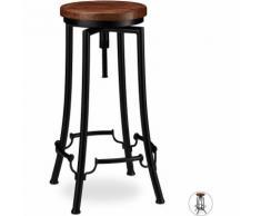 Tabouret de Bar, Design industriel, pivotant, Chaise haute ronde, Hauteur 77,5 cm max. fer bois,