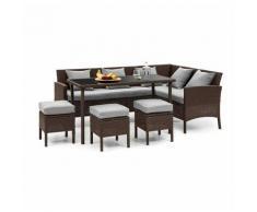 Titania Lounge Salon de jardin complet polyrotin marron & gris clair