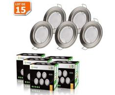 LOT DE 15 SPOT LED ENCASTRABLE COMPLETE RONDE FIXE ALU BROSSE eq. 50W BLANC NEUTRE