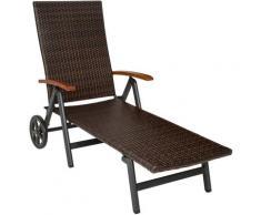 Tectake - Chaise Longue Pliante Réglable en Aluminium et Résine Tressée 194 cm x 77 cm x 64 cm