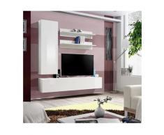 Meuble TV FLY H1 design, coloris blanc brillant. Meuble suspendu moderne et tendance pour votre