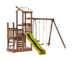 Soulet - Aire de jeux 2 tours avec portique et mur d'escalade - FUNNY Swing & Climbing 120 sans