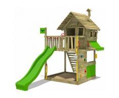 FATMOOSE Aire de jeux Portique bois GroovyGarden avec toboggan vert pomme Maison enfant exterieur