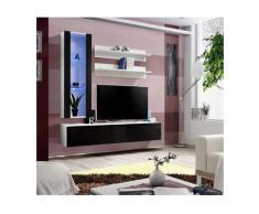 Meuble TV FLY H2 design, coloris blanc et noir brillant. Meuble suspendu moderne et tendance pour