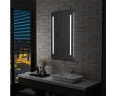 Youthup - Miroir mural à LED pour salle de bains avec étagère 60x100 cm