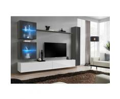 Paris Prix - Meuble Tv Mural Design switch Xviii 280cm Blanc & Gris