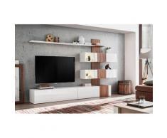 Meuble de salon complet, meuble tv QUIZZ. Composition murale moderne et design. LEDS incluses