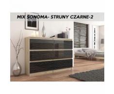MUNICH S2   Commode contemporaine chambre salon bureau   140x77x30   Dressing 6 tiroirs   Meuble de