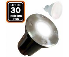 Lot de 30 Spot Encastrable de Sol Rond Inox 316 Extérieur IP65 + Ampoule GU10 5W Blanc Chaud 2700K