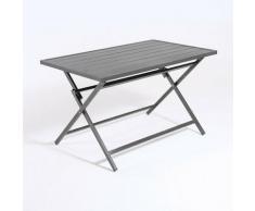 Table d'extérieur pliante carrée en aluminium Anthracite 120 x 72 x 71 cm