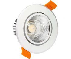 Spot Downlight LED COB Orientable Rond 12W (UGR19) Argenté Coupe Ø 90 mm Blanc Chaud 3000K - Blanc