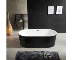 Baignoire ilot ovale en acrylique, Noir mat 140 cm - Cleo