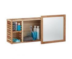 Etagère murale avec miroir coulissant salle de bain armoire bois de noyer huilé side board 80 cm