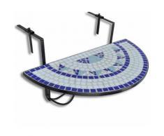 Youthup - Table suspendue de balcon Bleu et blanc mosaïque