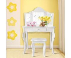 COSTWAY Coiffeuse Enfant Rose avec Tabouret, Table de Maquillage avec Miroir à Trois Panneaux et