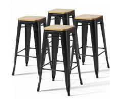 Oviala - Lot de 4 tabourets de bar noir mat et bois (43 x 43 x 76 cm) - Noir - Noir