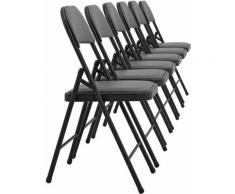 Lot de 6 chaises de bureau conférence visiteur pliable en similicuir gris et métal noir - noir