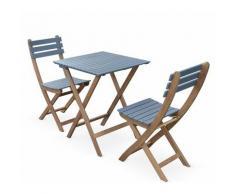 Table de jardin bistrot en bois 60x60cm - Barcelona Bois / Bleu grisé - pliante bicolore carrée en
