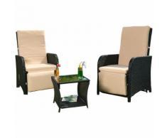 Salon de jardin, poly-rotin 2 fauteuils + table salon de jardin, couleur noir, fauteuil de jardin