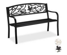 Banc de jardin, motif oiseau, 2 sièges, vintage, jardin et balcon, acier, H x L x P : 87 x 127 x