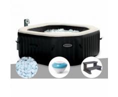 Spa gonflable Intex PureSpa octogonal Bulles et Jets 4 places + 5 kg de Sel + Enceinte LED + Marche