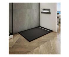Océan 140x90cm receveur de douche à poser extra-plat - Noir avec le tuyau +siphon